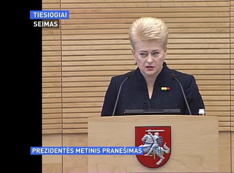 LR Prezidentės metinis pranešimas