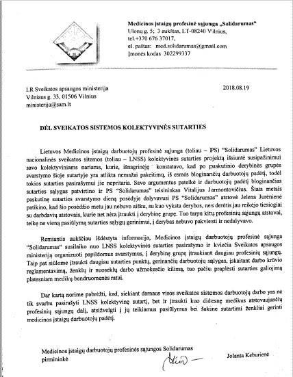 LMS PAREIŠKIMAS DĖL SVEIKATOS SISTEMOS KOLEKTYVINĖS SUTARTIES
