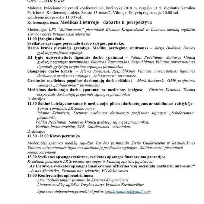 """Kvietimas į konferenciją """"Medikas Lietuvoje – dabartis ir perspektyva"""""""